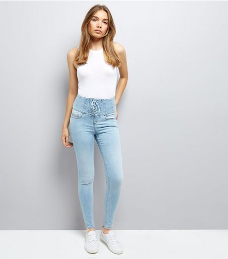 Blue Eyelet Lace Up High Waist Skinny Jeans | New Look
