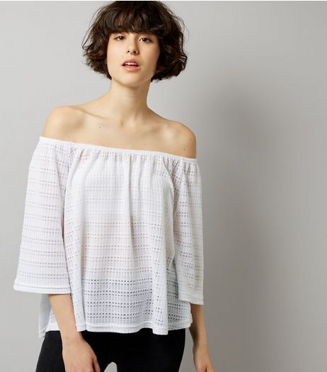 White Crochet Bardot Neck Top | New Look