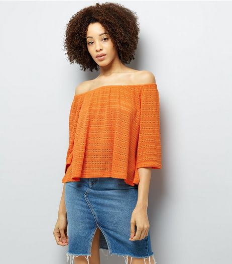 Bright Orange Bardot Neck 3/4 Sleeve Top  | New Look
