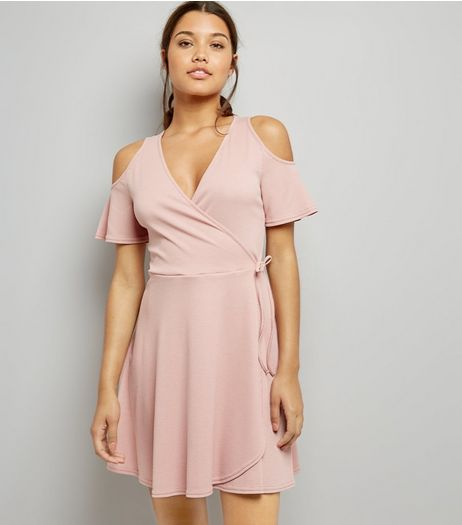 Pink Ribbed Cold Shoulder Wrap Dress | New Look