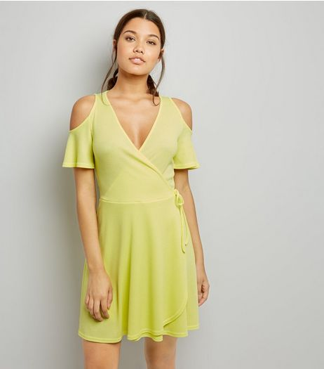 Soft Yellow Cold Shoulder Wrap Front Dress  | New Look