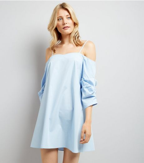 Blue Ruched Sleeve Bardot Neck Dress | New Look