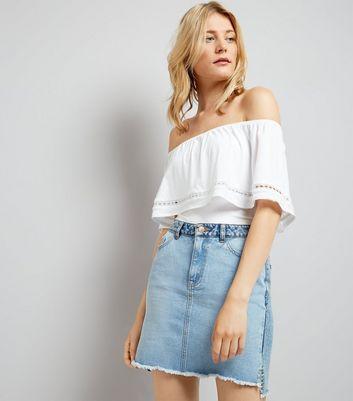 White Lace Trim Bardot Neck Top