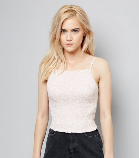 Pink Shirred Cropped Cami Top | New Look