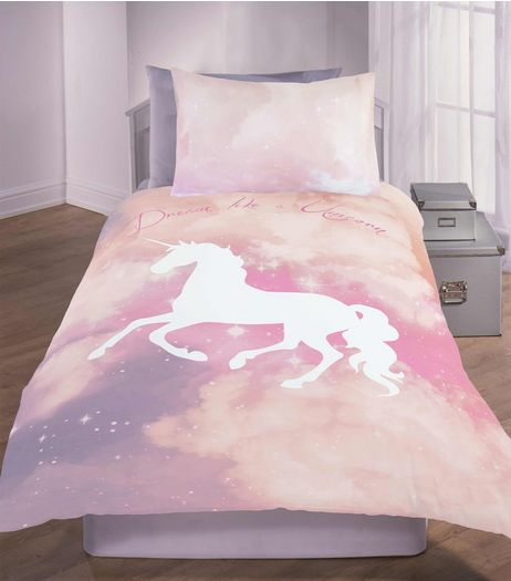Pink Dream Like A Unicorn Galaxy Tie Dye Single Duvet Set | New Look