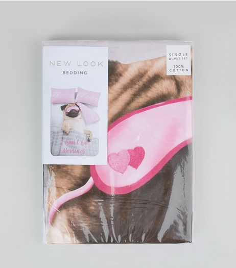 Pink Pug 'I Don't Do Mornings' Slogan Single Duvet Set | New Look