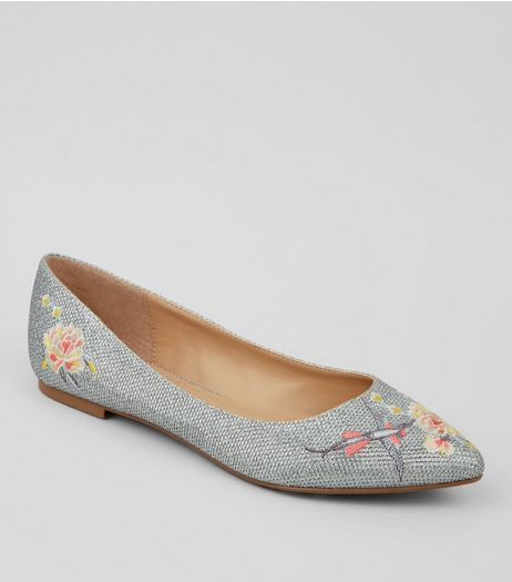 Silver Floral Embroidered Glitter Pumps  | New Look