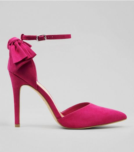 Wide Fit Pink Suedette Bow Back Pointed Heels | New Look