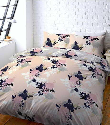 Pink Floral Print Double Duvet Set | New Look
