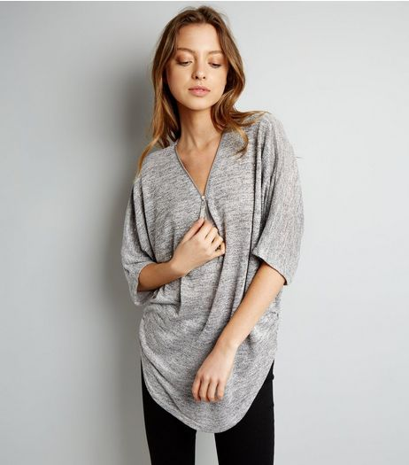 Blue Vanilla Pale Grey Diamante Zip Front Top | New Look