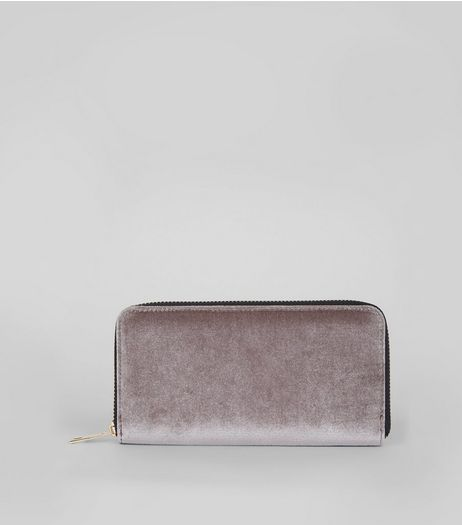 Silver Velvet Zip Around Purse  | New Look
