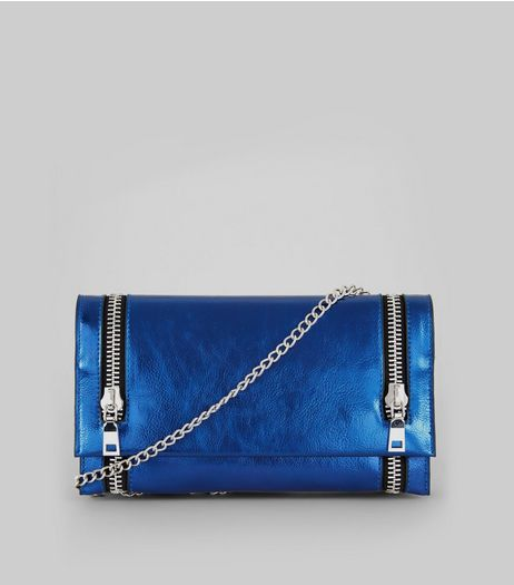 Metallic Blue Double Zip Foldover Clutch | New Look