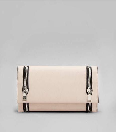 Pink Double Zip Foldover Clutch  | New Look