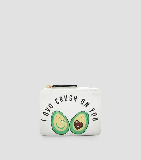White I Avo Crush On You Zip Top Purse | New Look