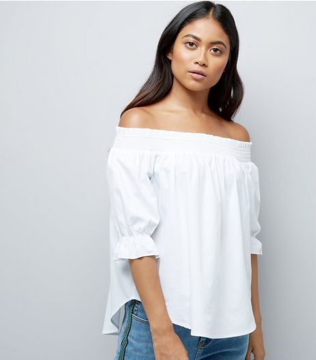 Petite White Shirred Bardot Neck Top | New Look