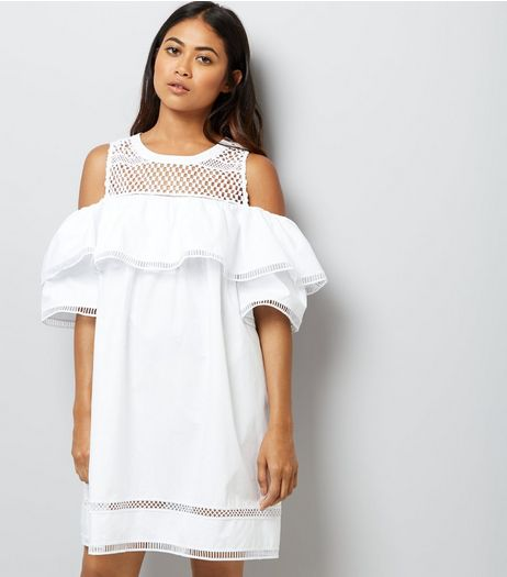 Petite White Mesh Yoke Frill Trim Cold Shoulder Dress | New Look