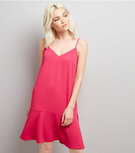 Petite Bright Pink Peplum Hem Slip Dress | New Look