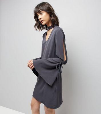 Blue Vanilla Grey Tie Sleeve Choker Mini Dress