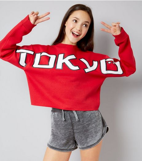 Teens Red Tokyo Cut Out Shoulder Jumper | New Look