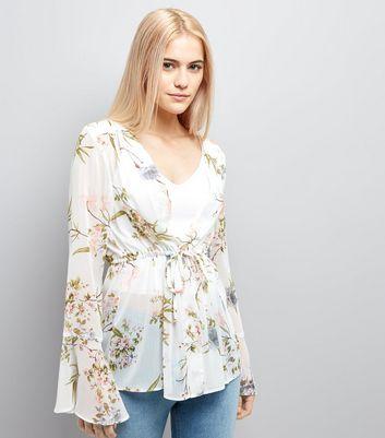 White Floral Chiffon Tie Front Blouse