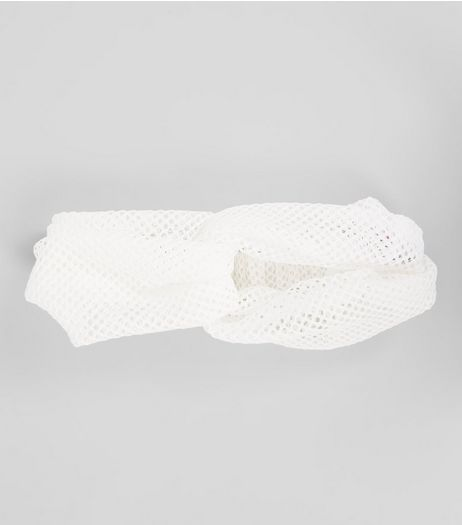 White Mesh Twist Front Headband | New Look