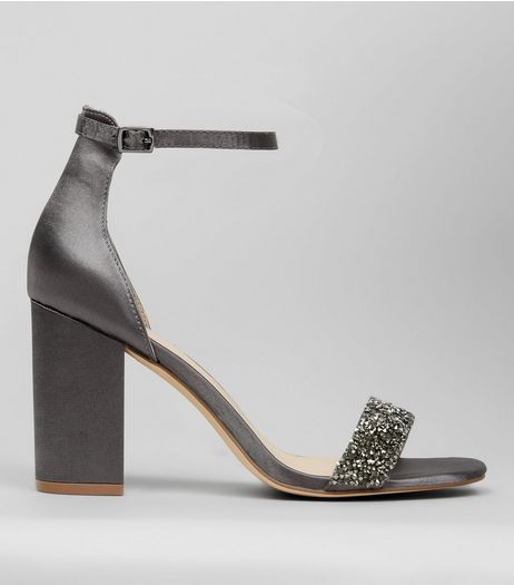 Grey Satin Crystal Embellished Block Heels | New Look