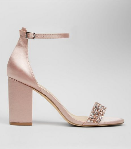 Pink Satin Crystal Embellished Block Heels | New Look