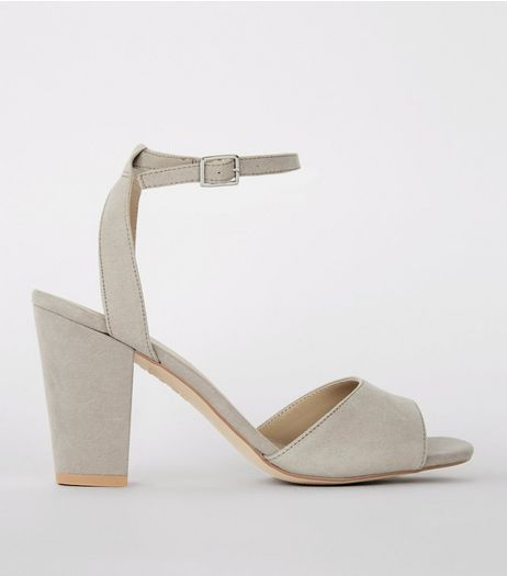 Grey Suedette Cut Out Back Block Heel Sandals | New Look