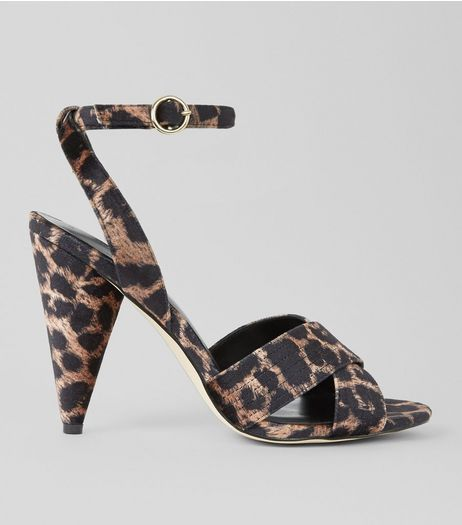 Stone Leopard Print Cone Heeled Sandals  | New Look