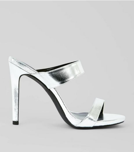 Silver Two Strap Heeled Mules | New Look