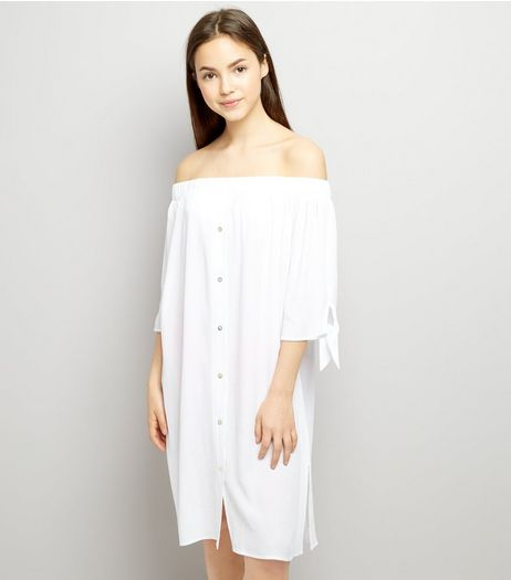 Teens White Bardot Neck Beach Dress | New Look
