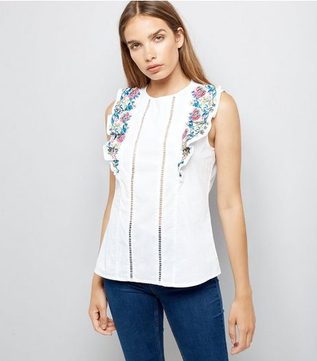 White Floral Embroidered Frill Front Top | New Look