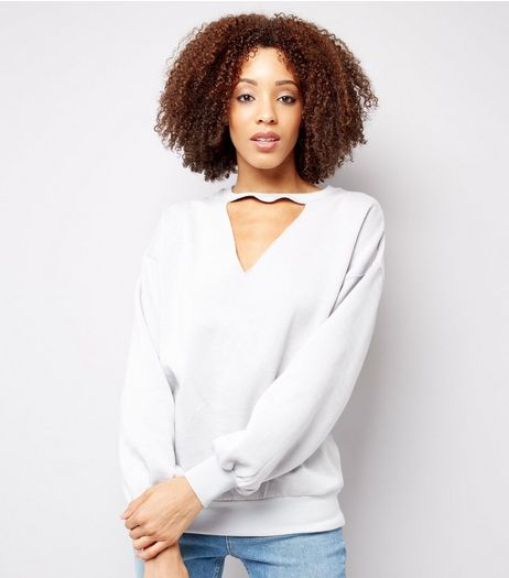Pale Grey Choker Neck Balloon Sleeve Sweater  | New Look