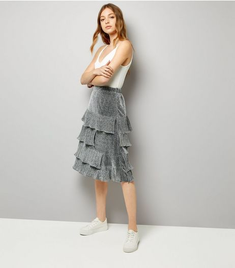 Silver Glitter Tiered Midi Skirt | New Look