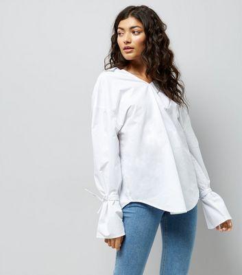 White Ring Back Bell Sleeve Shirt