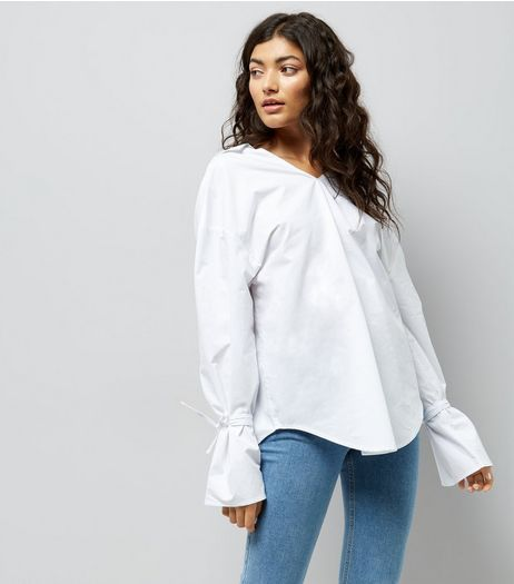 White Ring Back Bell Sleeve Shirt | New Look