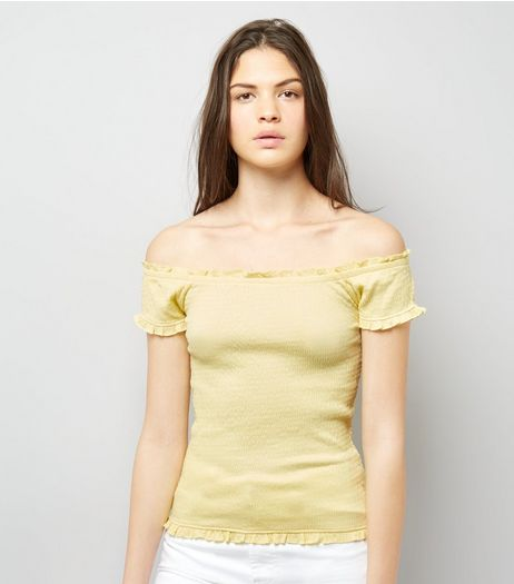 Soft Yellow Bardot Neck Frill Trim Top | New Look