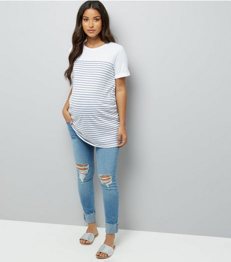 Maternity Blue Ripped Over Bump Skinny Jeans | New Look