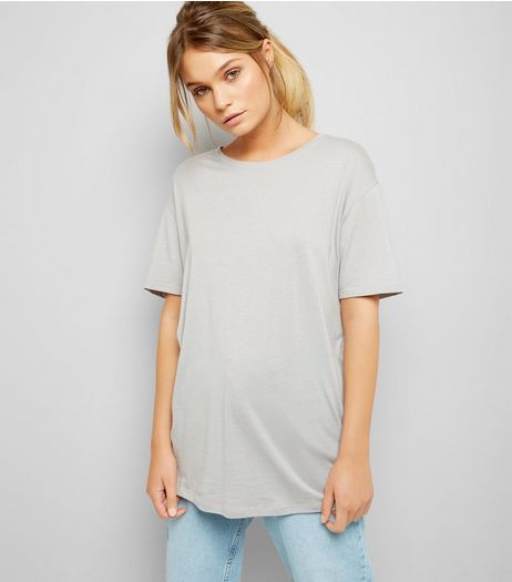 Grey Corset Back Longline T-Shirt | New Look