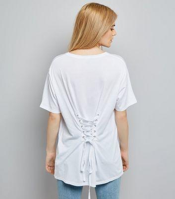 White Corset Back Longline T-Shirt