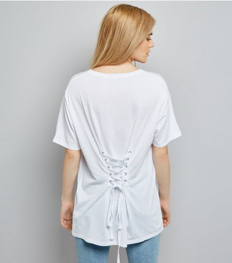 White Corset Back Longline T-Shirt | New Look