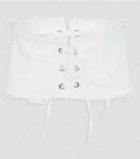 Cameo Rose White Frayed Corset Belt | New Look