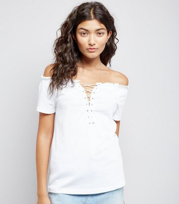 White Lace Up Front Bardot Neck T-Shirt