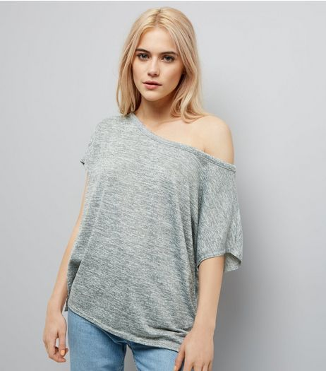 Grey Off The Shoulder T-Shirt | New Look