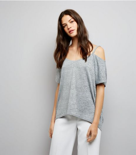 Grey Marl Fine Knit Cold Shoulder Top | New Look