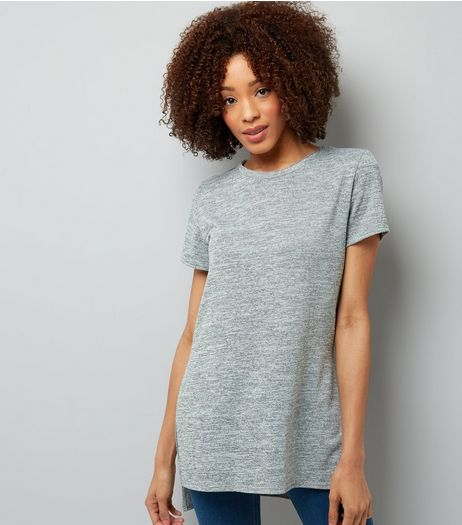 Pale Grey Split Side Longline T-Shirt  | New Look