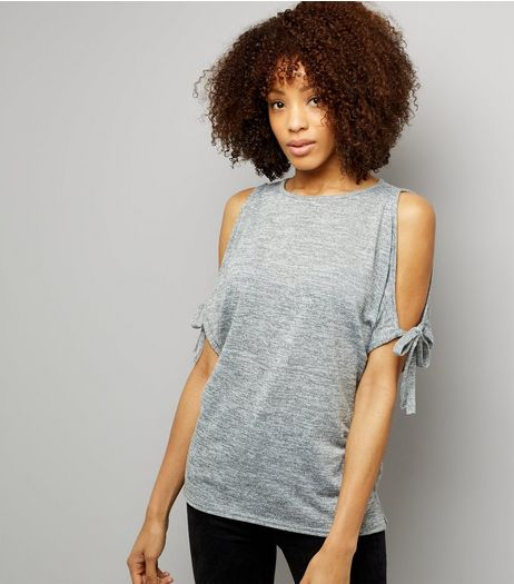Grey Tie Sleeve Cold Shoulder Top | New Look