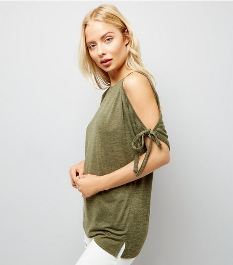 Khaki Cold Shoulder Top | New Look