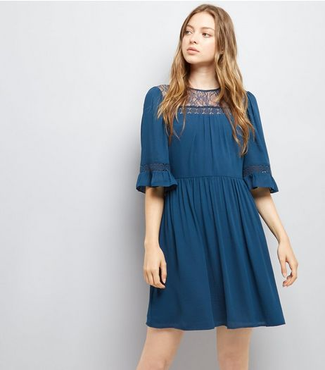 Navy Lace Neck Smock Dress | New Look