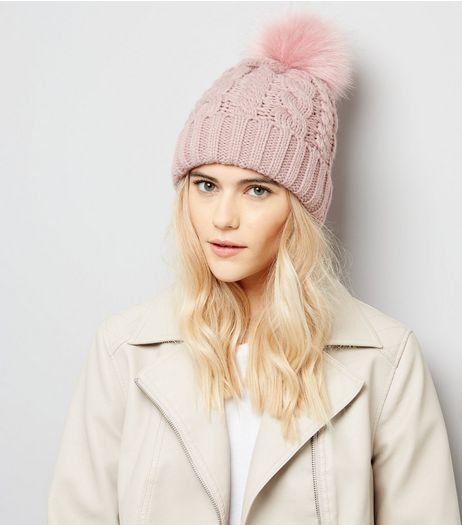 Pink Faux Fur Pom Pom Bobble Hat | New Look